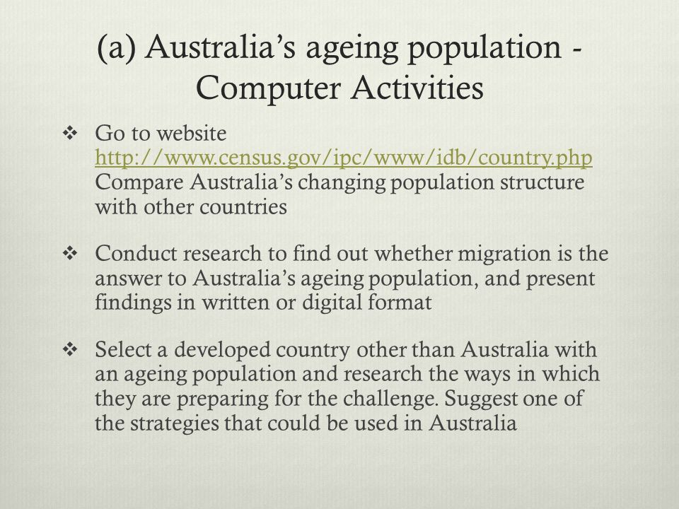 (a) Australia's ageing population -Computer Activities