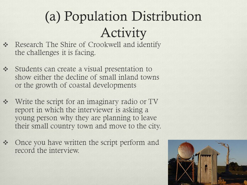 (a) Population Distribution Activity