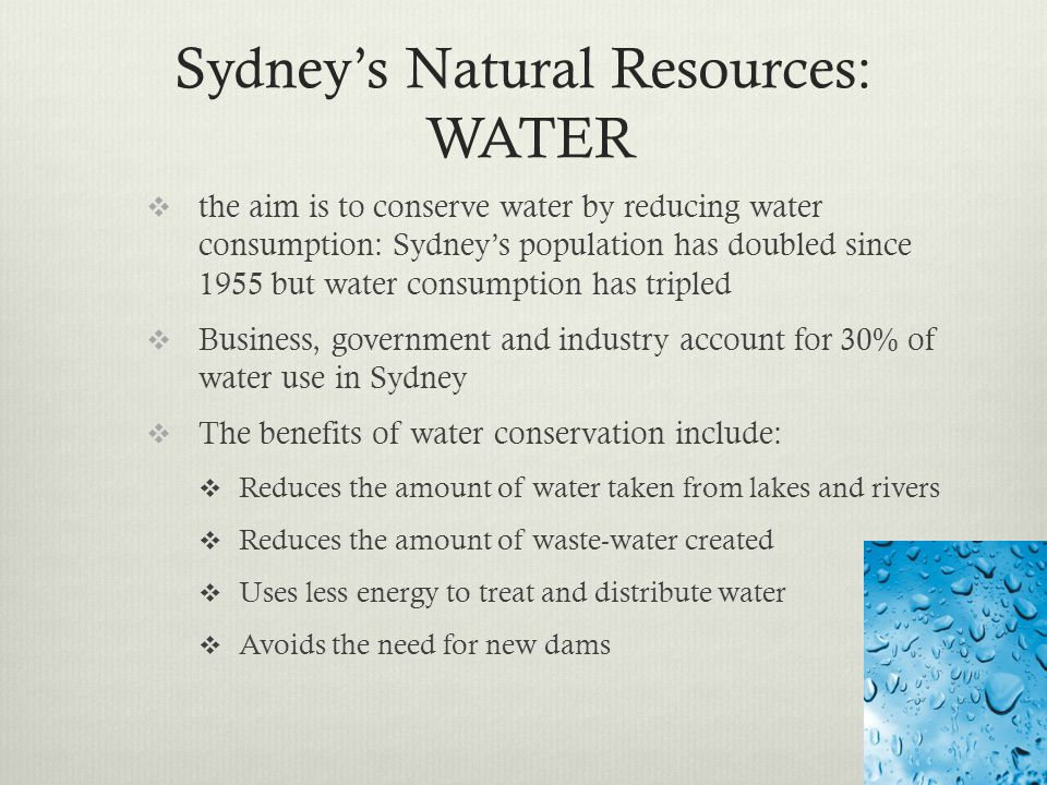 Sydney's Natural Resources: WATER