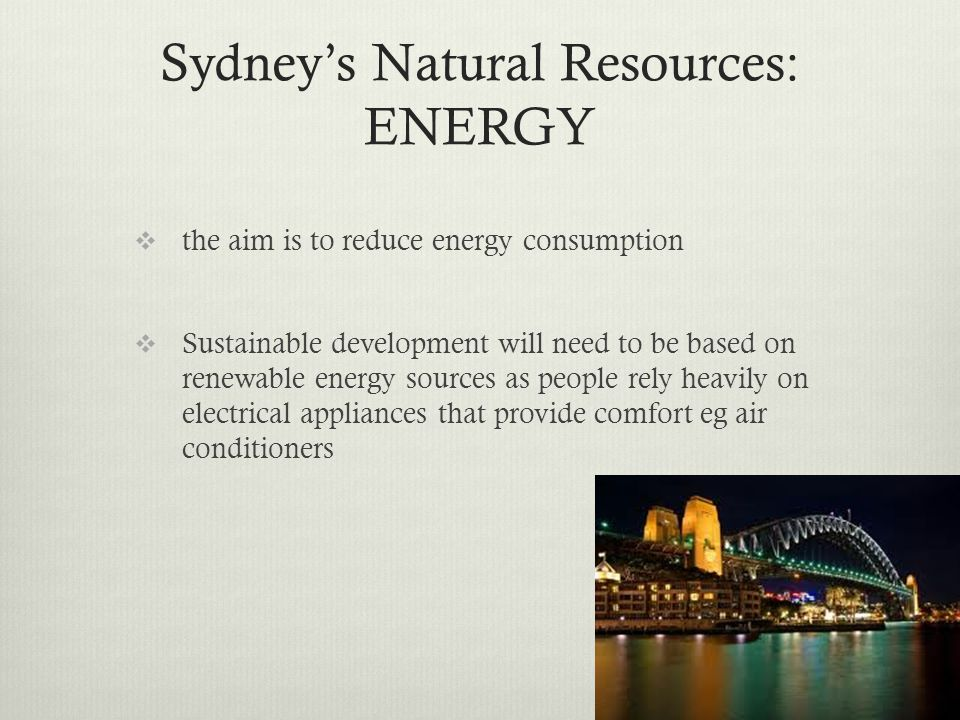Sydney's Natural Resources: ENERGY