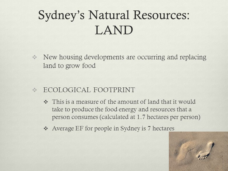 Sydney's Natural Resources: LAND