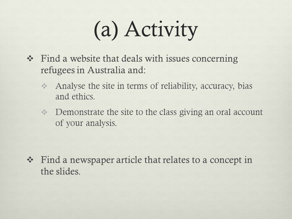 (a) Activity Find a website that deals with issues concerning refugees in Australia and: