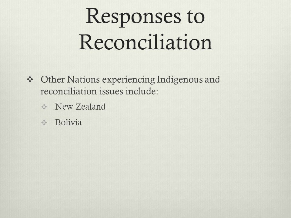 Responses to Reconciliation