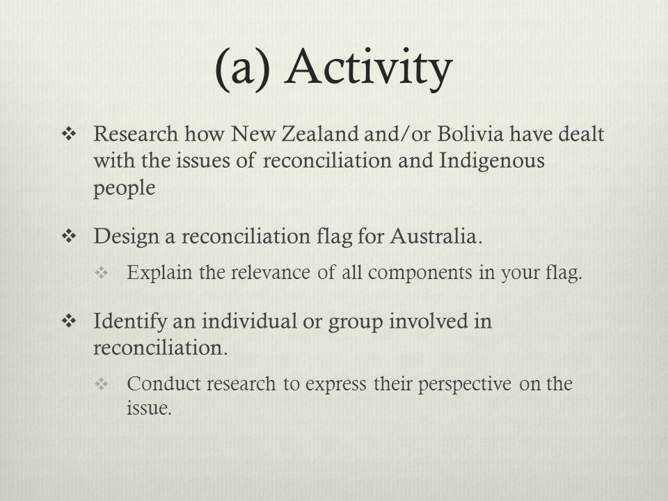(a) Activity Research how New Zealand and/or Bolivia have dealt with the issues of reconciliation and Indigenous people.