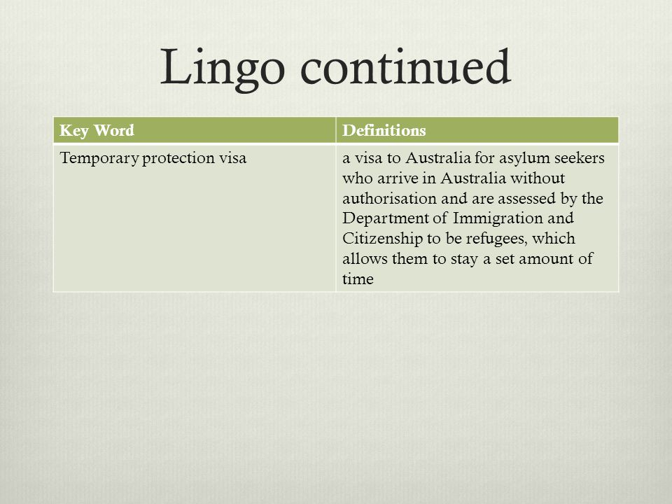 Lingo continued Key Word Definitions Temporary protection visa
