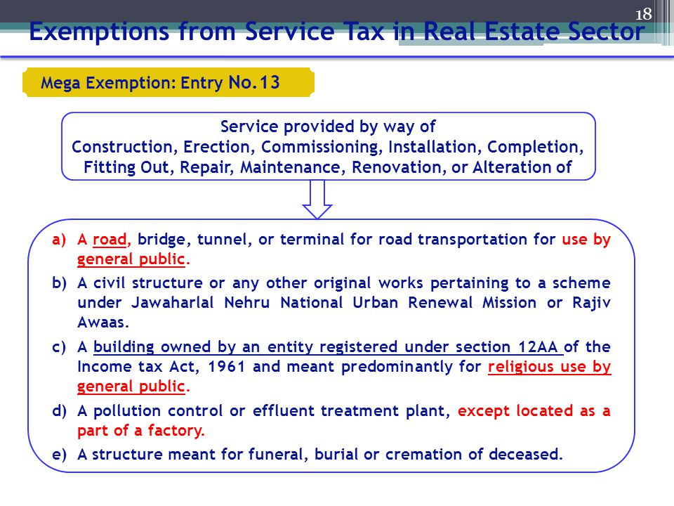 Exemptions from Service Tax in Real Estate Sector