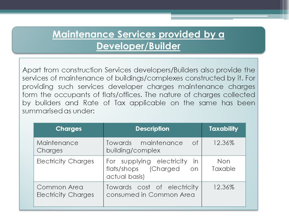 Maintenance Services provided by a Developer/Builder