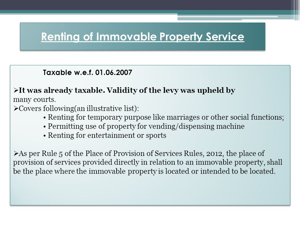 Renting of Immovable Property Service