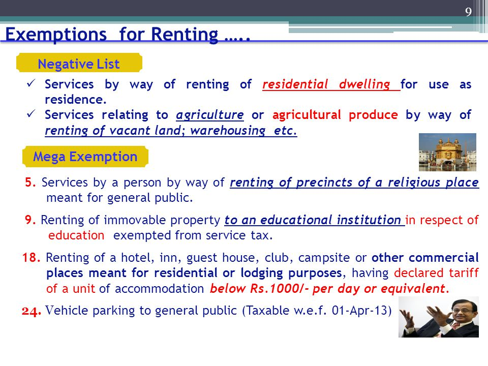 Exemptions for Renting …..
