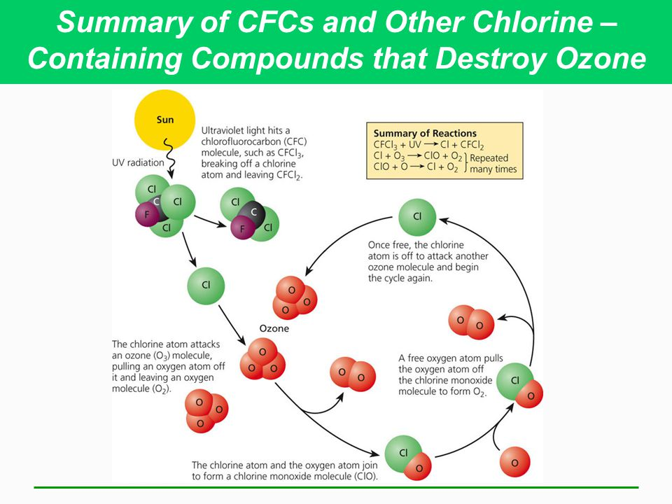 Summary of CFCs and Other Chlorine –Containing Compounds that Destroy Ozone