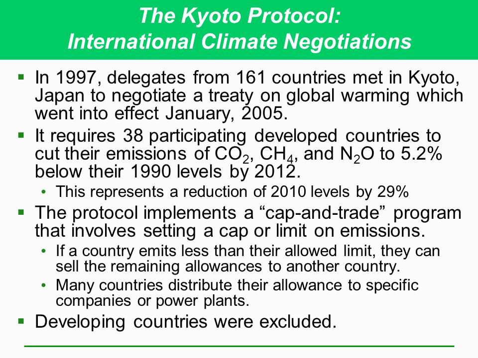 The Kyoto Protocol: International Climate Negotiations