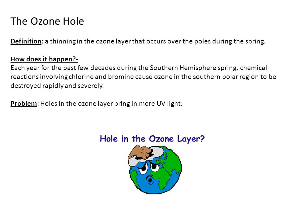 The Ozone Hole Definition: a thinning in the ozone layer that occurs over the poles during the spring.