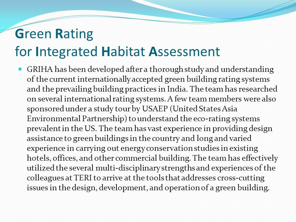 Green Rating for Integrated Habitat Assessment