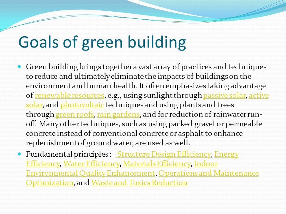 Goals of green building