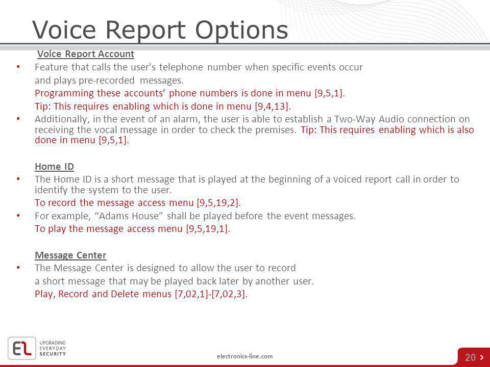 Voice Report Options Voice Report Account