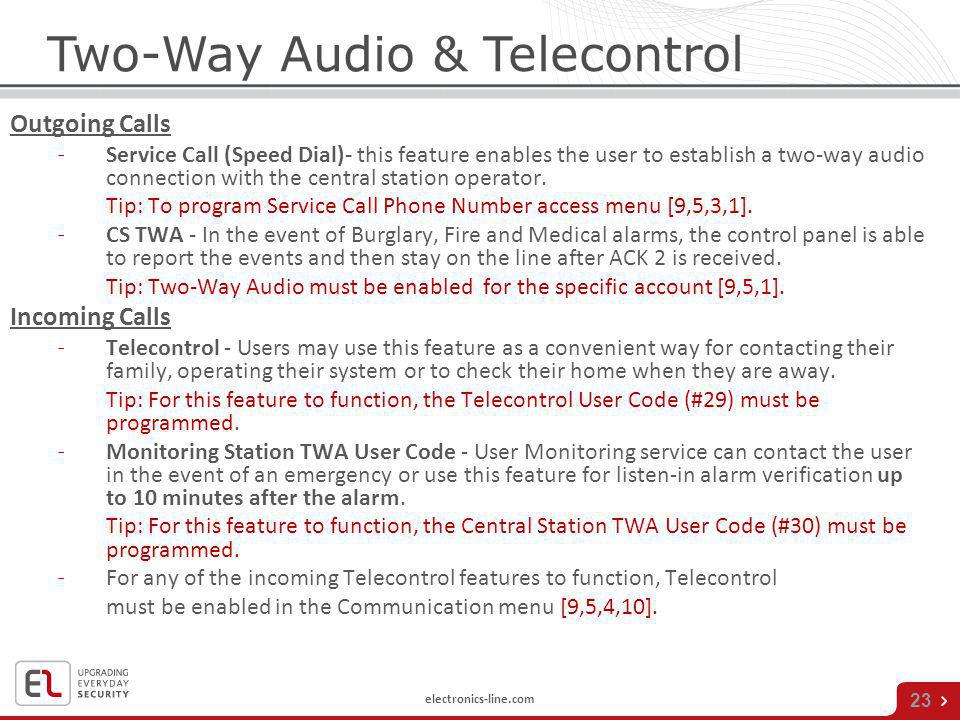 Two-Way Audio & Telecontrol