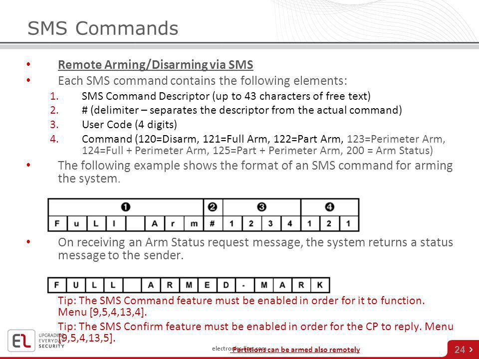 SMS Commands Remote Arming/Disarming via SMS