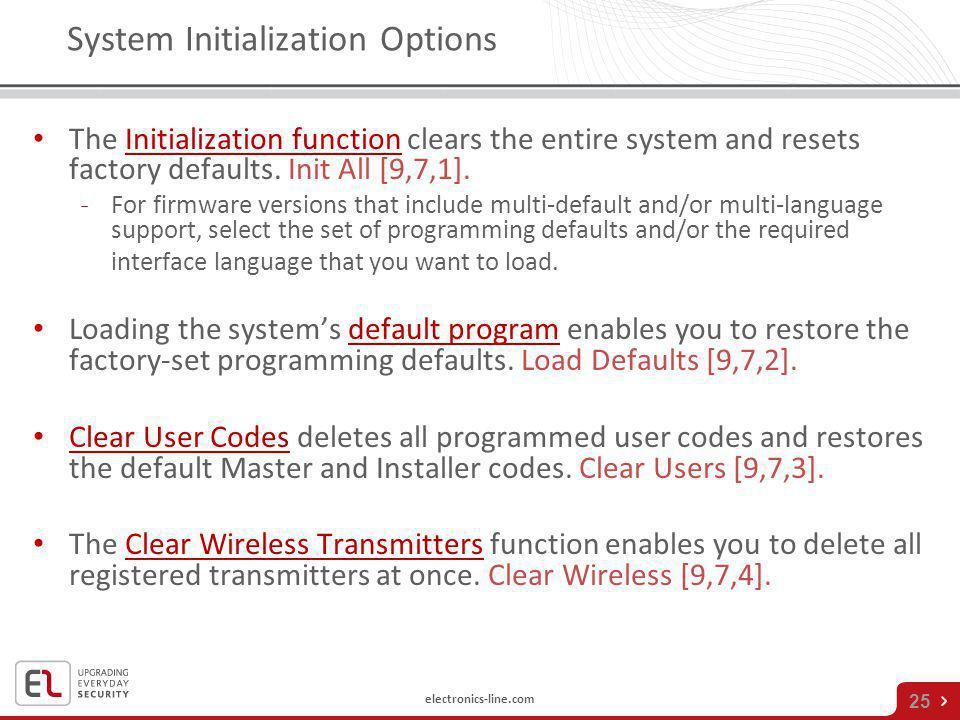 System Initialization Options
