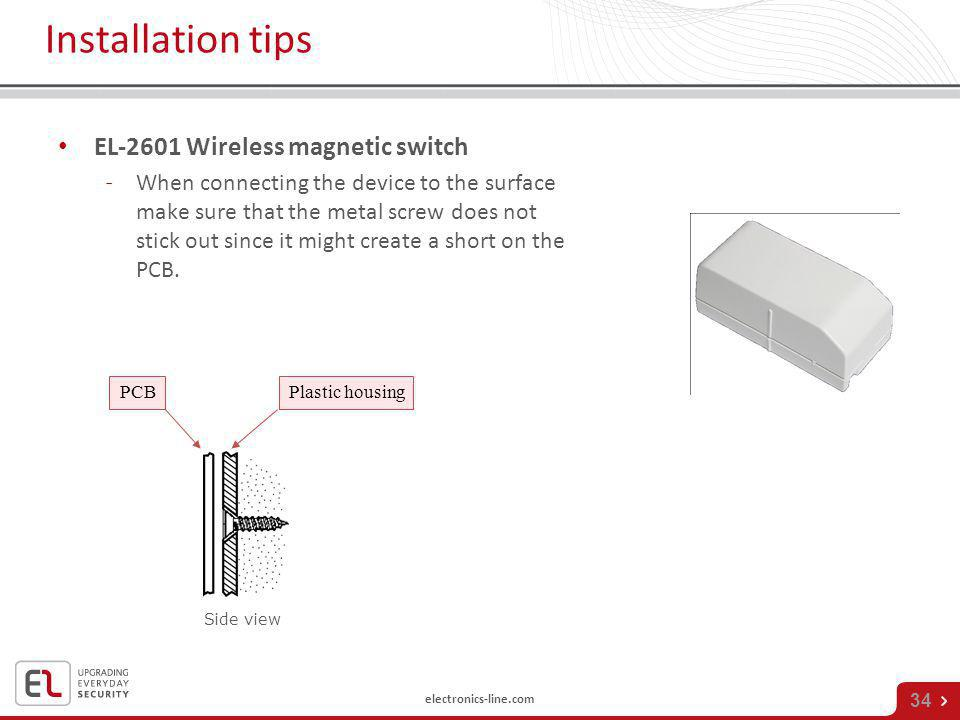 Installation tips EL-2601 Wireless magnetic switch