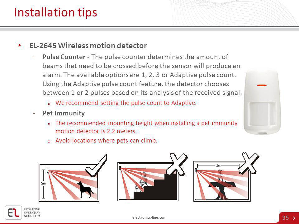 Installation tips EL-2645 Wireless motion detector