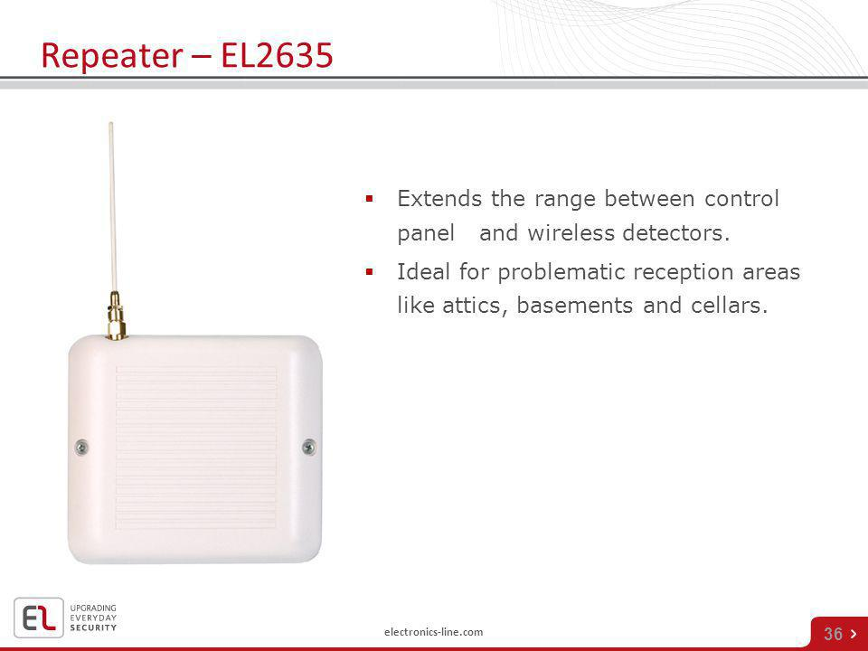 Repeater – EL2635 Extends the range between control panel and wireless detectors.