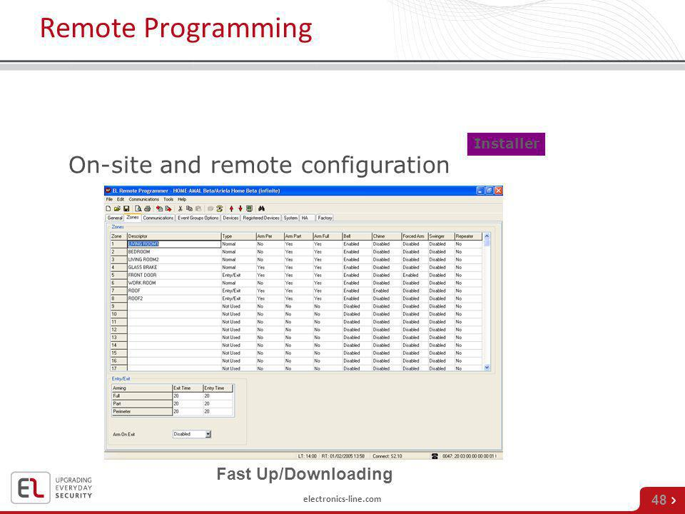 Remote Programming On-site and remote configuration