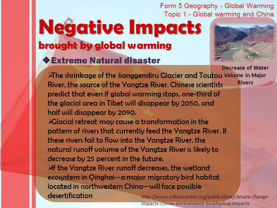 Decrease of Water Volume in Major Rivers