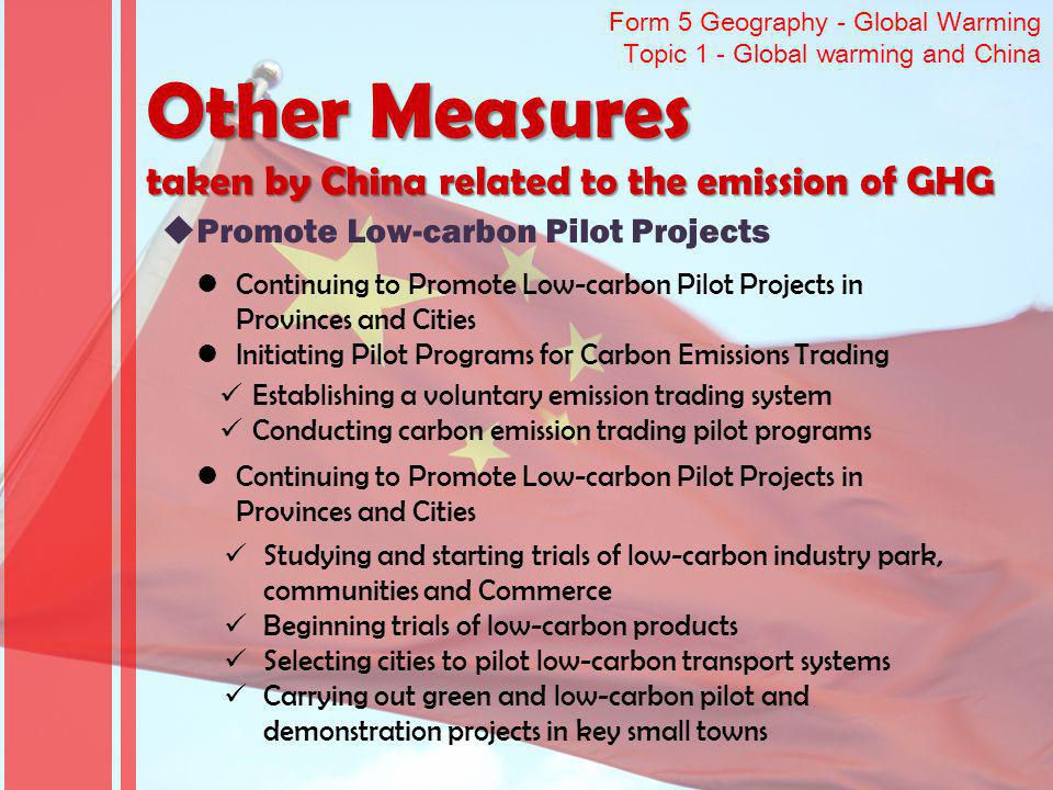 Other Measures taken by China related to the emission of GHG