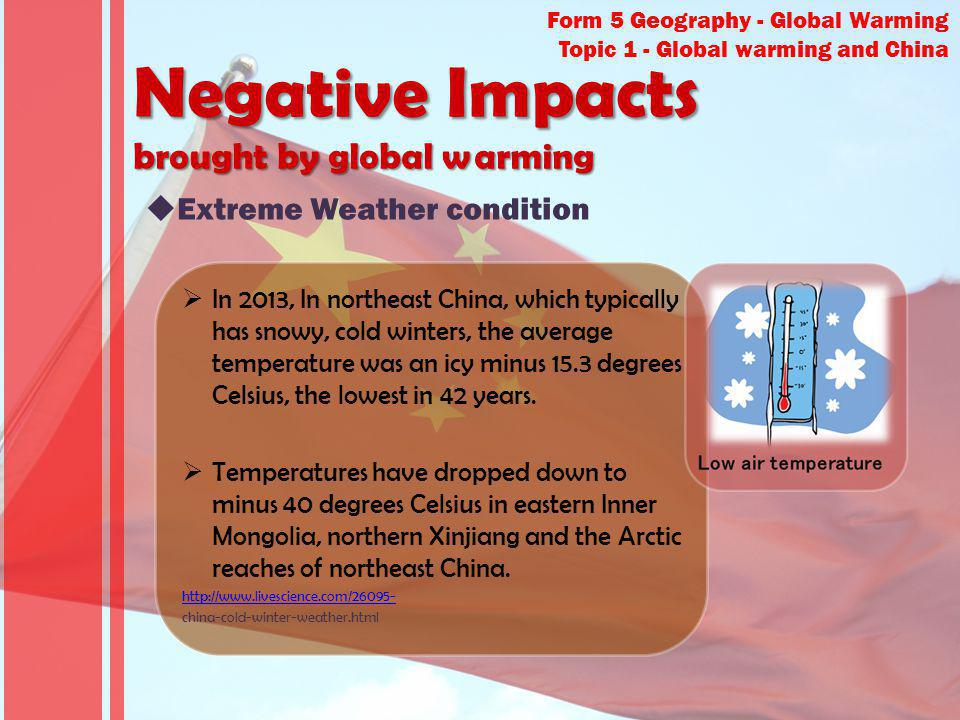 Negative Impacts brought by global warming