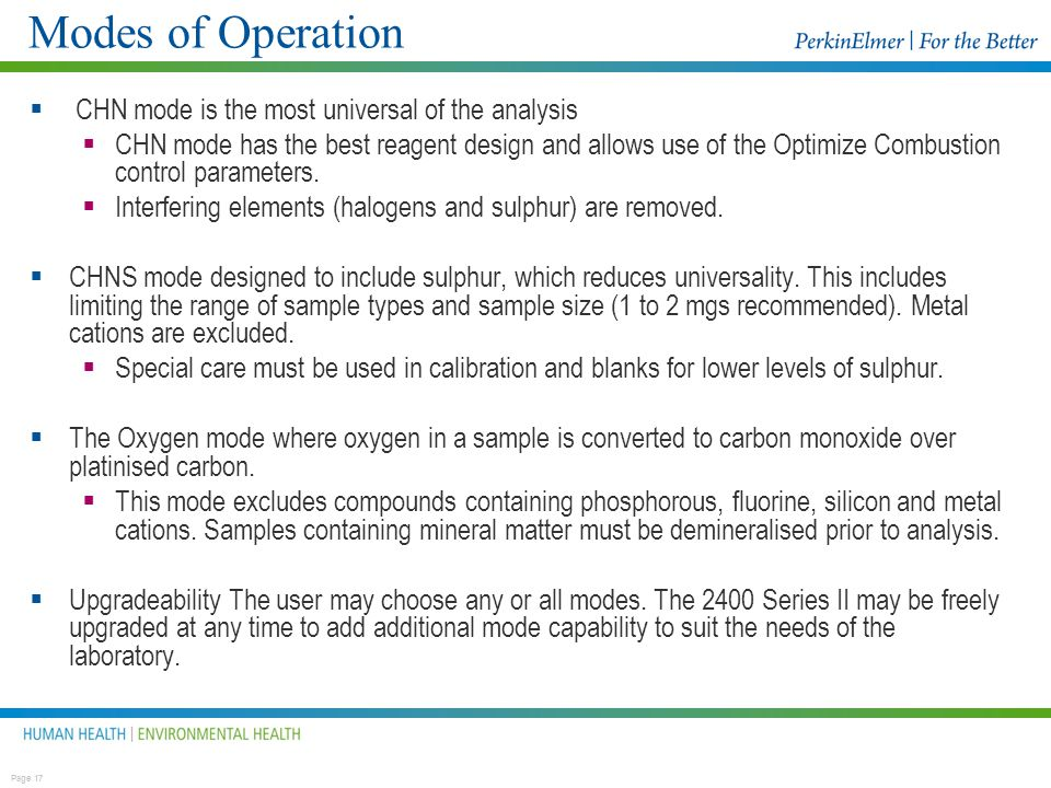 Modes of Operation CHN mode is the most universal of the analysis