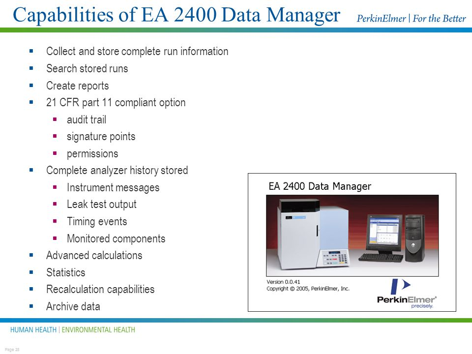 Capabilities of EA 2400 Data Manager