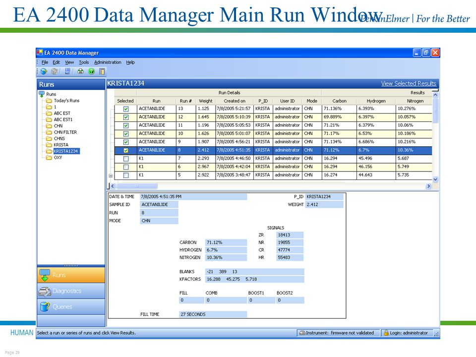 EA 2400 Data Manager Main Run Window