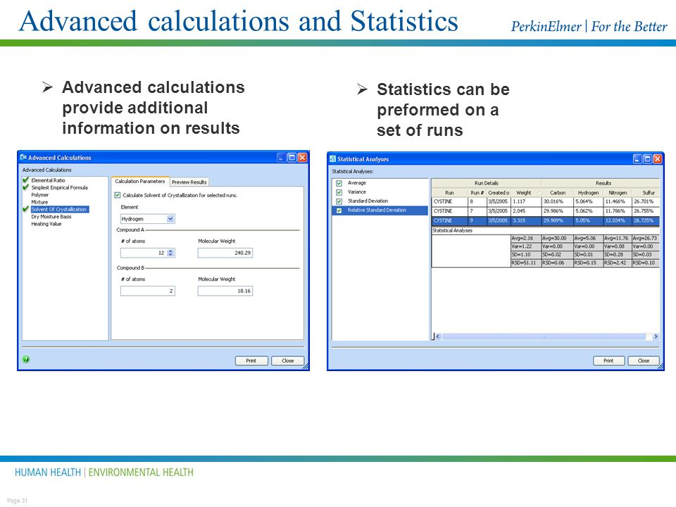 Advanced calculations and Statistics