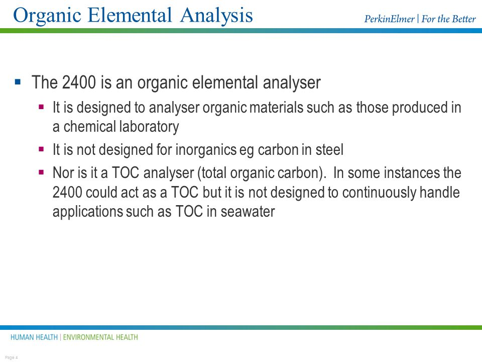 Organic Elemental Analysis