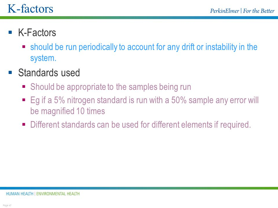 K-factors K-Factors Standards used