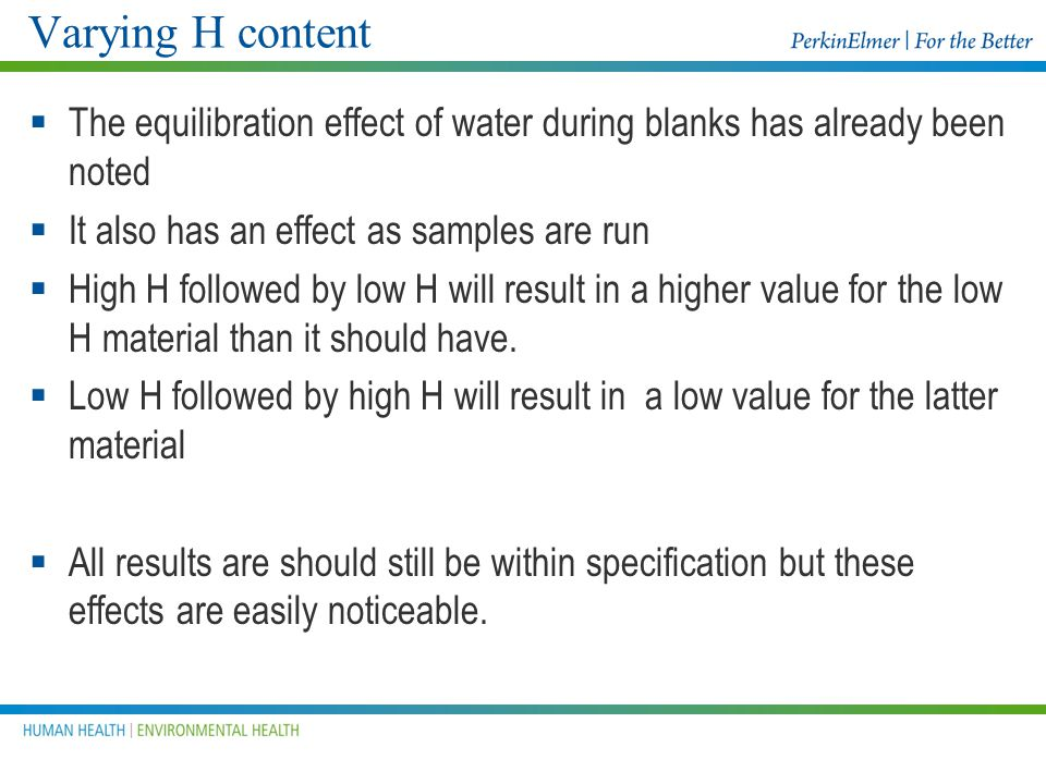 Varying H content The equilibration effect of water during blanks has already been noted. It also has an effect as samples are run.