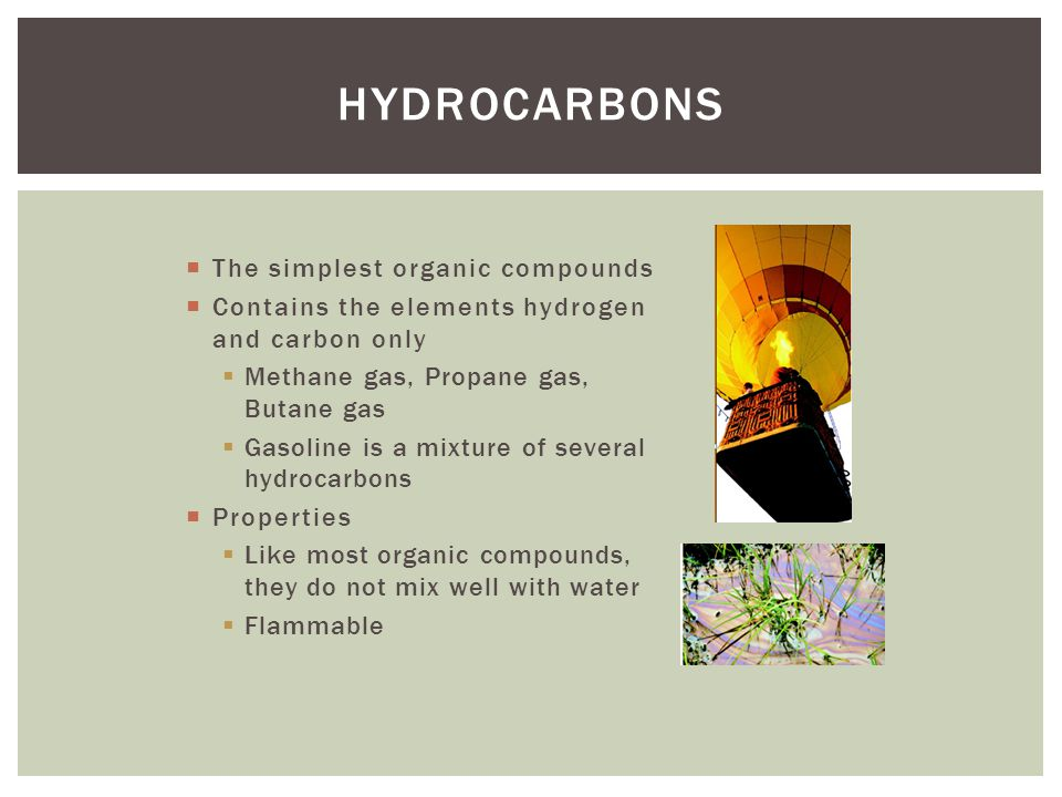 Hydrocarbons The simplest organic compounds