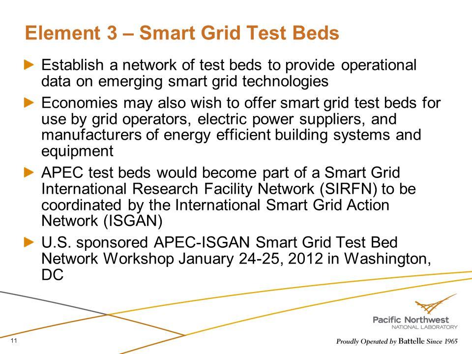 Element 3 – Smart Grid Test Beds