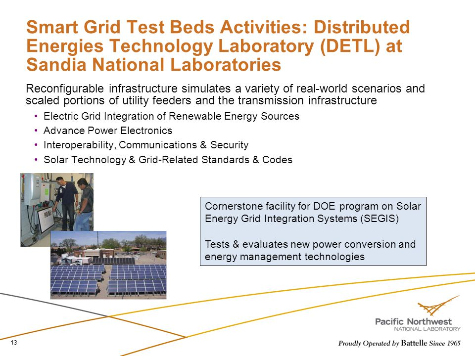 Smart Grid Test Beds Activities: Distributed Energies Technology Laboratory (DETL) at Sandia National Laboratories