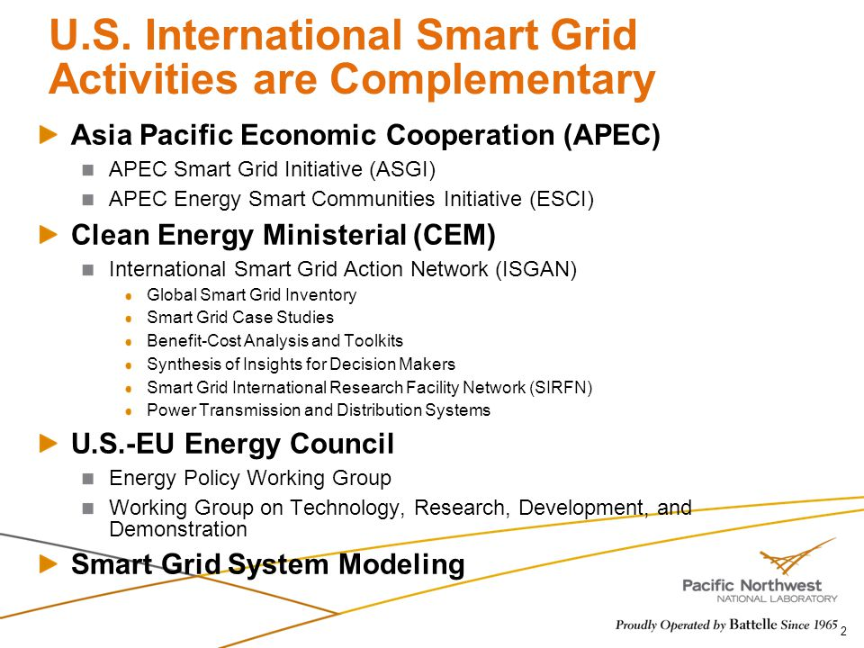U.S. International Smart Grid Activities are Complementary