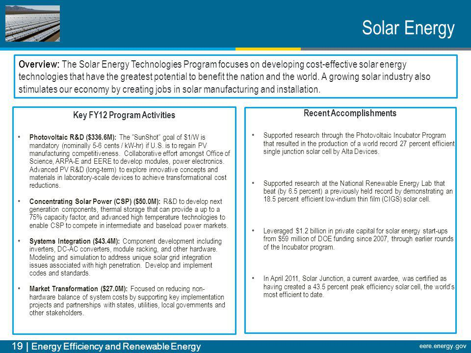 Key FY12 Program Activities Recent Accomplishments