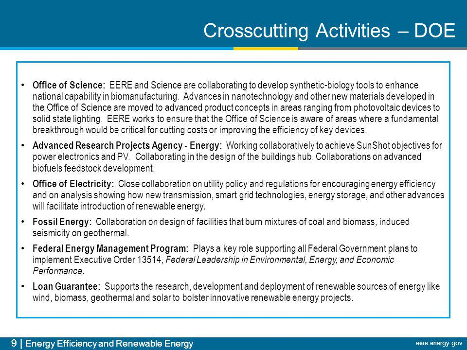 Crosscutting Activities – DOE