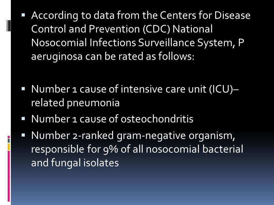 According to data from the Centers for Disease Control and Prevention (CDC) National Nosocomial Infections Surveillance System, P aeruginosa can be rated as follows: