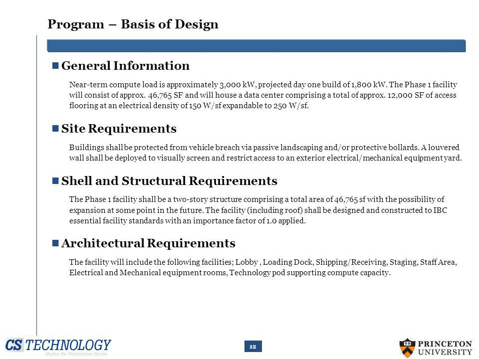 Program – Basis of Design – Cont.