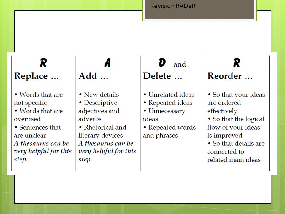 Revision RADaR