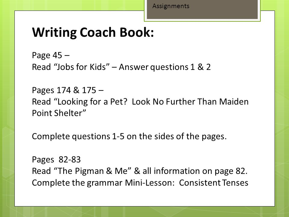Writing Coach Book: Page 45 –