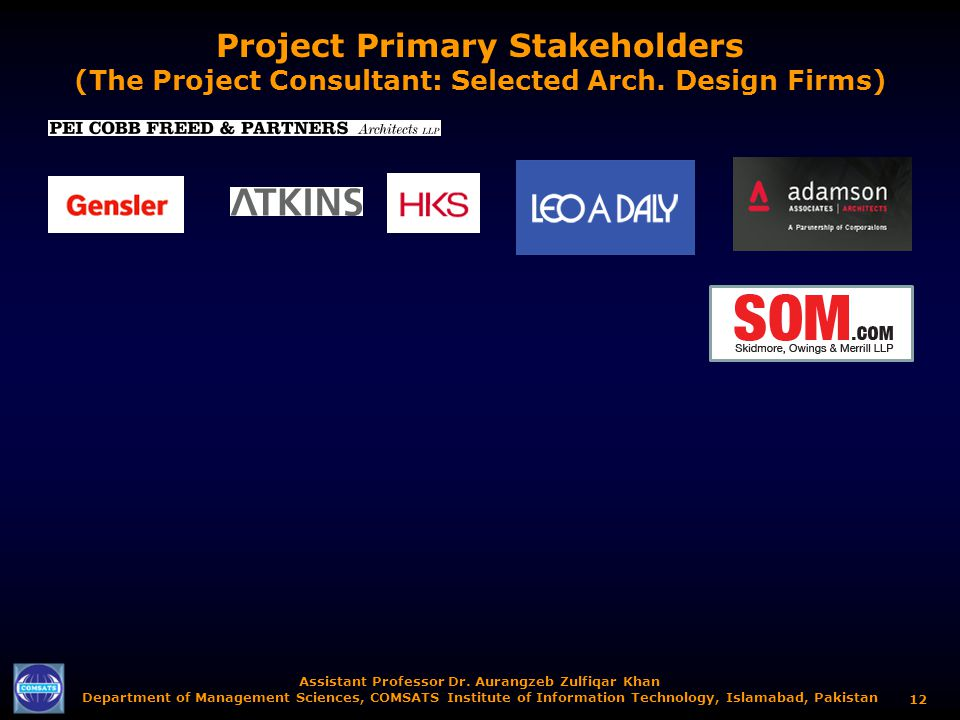 Project Primary Stakeholders (The Project Consultant: Selected Arch