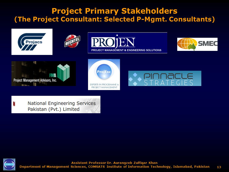 Project Primary Stakeholders (The Project Consultant: Selected P-Mgmt