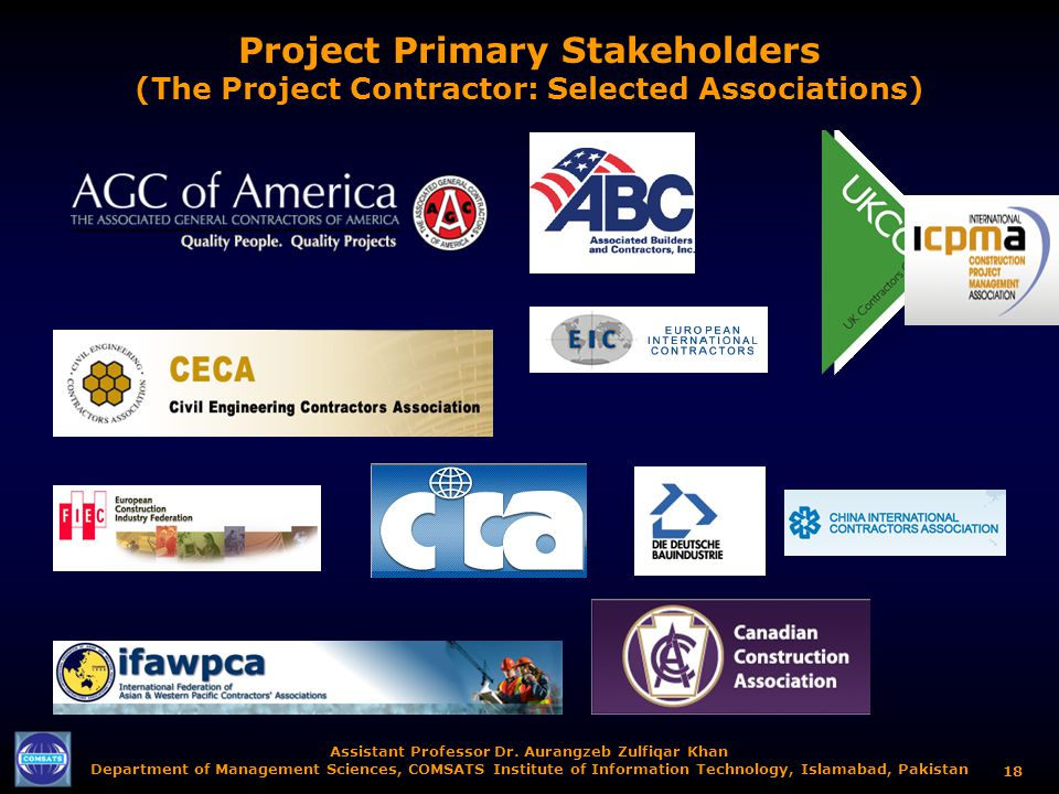 Project Primary Stakeholders (The Project Contractor: Selected Associations)