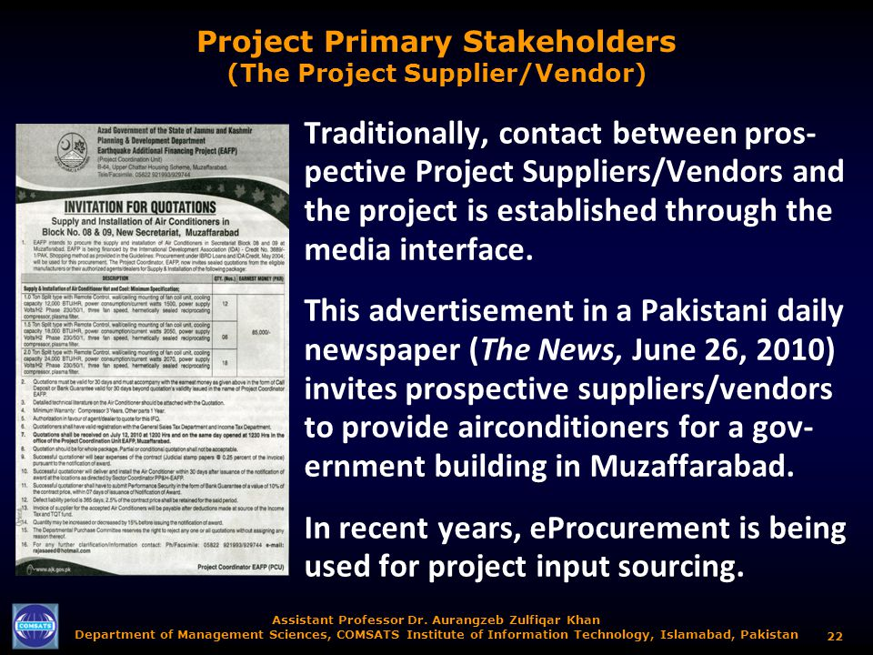 Project Primary Stakeholders (The Project Supplier/Vendor)